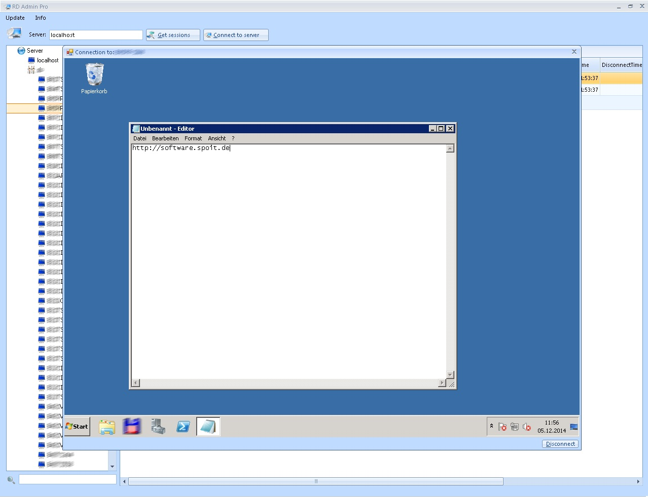 Integretated remote desktop client